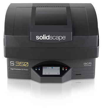 Solidscape's new S350 high precision 3D printer with SCP® (Smooth Curvature Printing) technology offers resolution down to 6 microns and utilizes the new Midas™ castable material and Melt™-J dissolvable support material. Jewelery manufacturers, service bureaus and casting companies can create highly accurate, directly castable wax models with complex geometries and smooth surface finish for all metal casting, including platinum as well as room temperature vulcanizing (RTV) molding applications.
